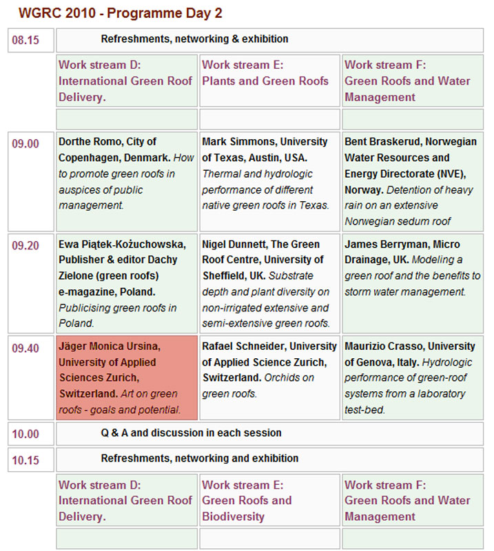 Day 2 Schedule Green Roof Congress 2010